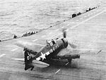 F6F-5 Hellcat of VF-18 takes off from USS Leyte (CV-32) in 1946.jpg