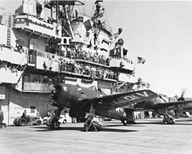 F8F-2 Bearcats of VF-111 on USS Valley Forge (CV-45) in September 1949 (80-G-427668).jpg