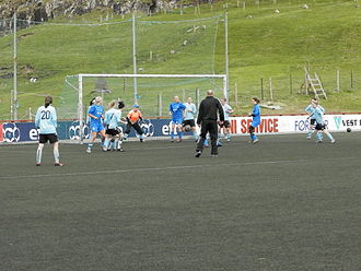 Víkingur Gøta - Víkingur Gøta has also female football, this photo is from 1 July 2012. Football match between Víkingur Gøta and FC Suðuroy.