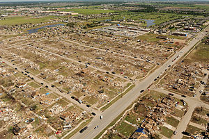 Moore, Oklahoma - Aerial view of 2013 Moore tornado damage