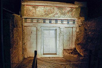 English: Facade of Philip II of Macedon tomb i...