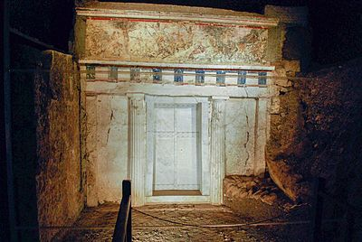 A view from the ancient royal Macedonian tombs in Vergina Facade of Philip II tomb Vergina Greece.jpg