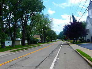 NY 249 east through the center of Farnham