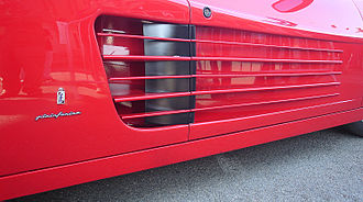 Ferrari Testarossa - One of the side intakes on a 512 TR, which leads to the side-mounted radiators.