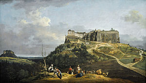 Königstein Fortress - Königstein Fortress, painting by Canaletto (created 1756-1758)