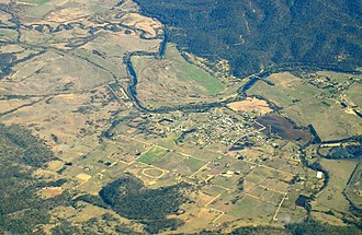 Fingal, Tasmania - Aerial photo from south east.  South Esk River visible.