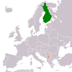 Map indicating locations of Finland and Kosovo