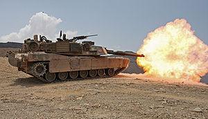 Tank gun - An M1 Abrams firing.