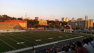 Austin Aztex - The first Austin Aztex home game, against the El Paso Patriots on May 19, 2012.  The downtown Austin skyline and the Texas capitol dome are visible in the background.