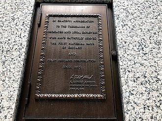 Chase Tower (Chicago) - First National Bank plaque, below the clock in Exelon Plaza.