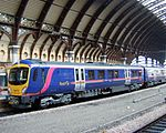 "Photograph taken in April 2006 of a British Rail Class 185 ""Pennine"" operated by First TransPennine Express. This was the original livery that the trains were delivered in; the trains have been subsequently rebranded using First's 'Dynamic Lines' livery."