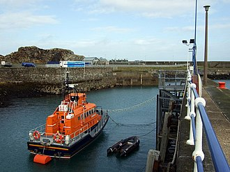 Fishguard Lifeboat Station - Trent class lifeboat Blue Peter VII on station at Fishguard