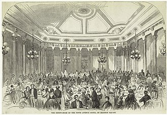 Fifth Avenue Hotel - Illustration of the Fifth Avenue Hotel dining room, Harper's Weekly (1859)