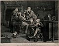 Five peasants gathered round a table smoking, a woman servan Wellcome V0019017.jpg