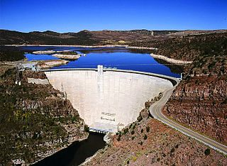 Flaming Gorge Dam Concrete thin-arch dam on the Green River in northern Utah, United States