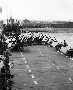 USS Point Cruz - Flight deck of the USS Point Cruz with ''Avengers'' and ''Corsairs'', off of San Diego, November 1945