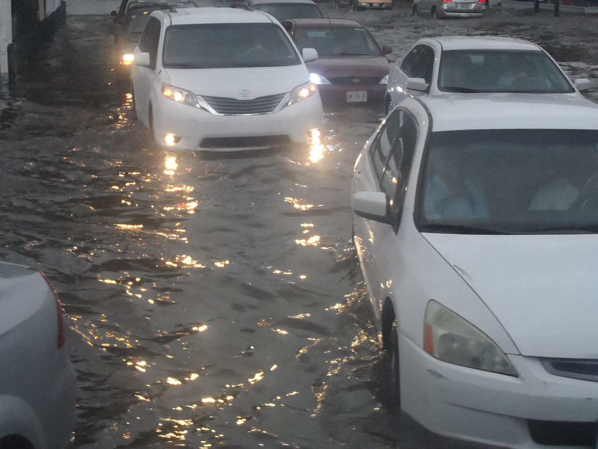 Flooded street and vehicles.JPG