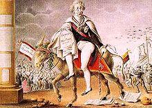 Flucht Metternichs (zeitgenössische Karikatur, März 1848) (Quelle: Wikimedia)