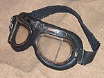 Flying goggles 1980s on hessian fabric 01.jpg