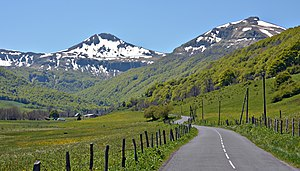 Puy Mary - The Cheylade valley and the north face of the puy Mary.