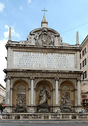 Acqua Felice - The Fountain of Moses marks the terminus of the acqua Felice on the Quirinal