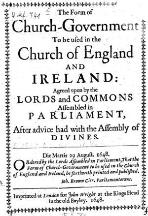 The Form of Presbyterial Church Government - Cover page of 1648 edition.