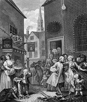Black British - William Hogarth's engraving Four Times of the Day: Noon (1738) shows a black London resident (on the left).