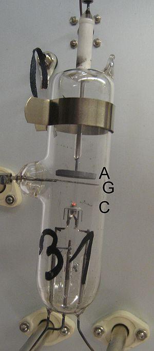 Franck–Hertz experiment - Image: Franck Hertz Hg Tube