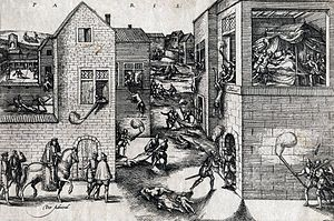 St. Bartholomew's Day massacre - This popular print shows the attempted assassination of Coligny at left, his subsequent murder at right, and scenes of the general massacre in the streets.