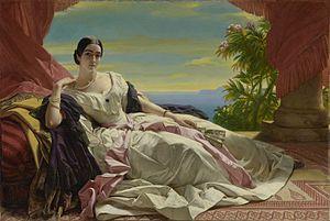 Russian nobility - Portrait of Princess Leonilla Baryatinskaya, by Franz Xaver Winterhalter.