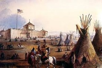 Blue Horse (Lakota leader) - In 1849, Old Chief Smoke moved his Wágluȟe camp to Fort Laramie, Wyoming. Wágluȟe were considered by the U.S. Army and Indian agents to be the most progressive band of Lakota and many became Indian Police, U.S. Army Indian Scouts with the U.S. 4th Cavalry Regiment from Fort Laramie, Wyoming, and intermediaries with other bands of Lakotas.