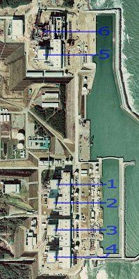 各原子炉の配置図 (国土交通省 国土画像情報(カラー空中写真)を基に作... 福島第一原子力発電