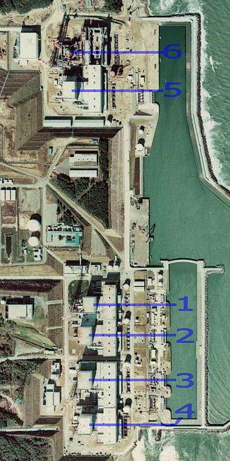 Fukushima Daiichi Nuclear Power Plant - Image: Fukushima I NPP 1975 medium crop rotated labeled