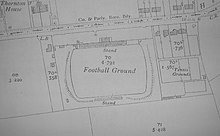 A map showing the Fulfordgate association football ground and its surroundings