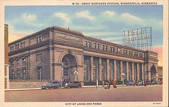 Minneapolis Great Northern Depot - Great Northern Station, Minneapolis, Minnesota, which also served the Northern Pacific Railway. This historic depot was razed in 1978.