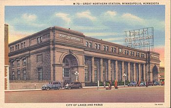 Great Northern Station Minneapolis Minnesota Which Also Served The Northern Pacific Railway This Historic Depot Was Razed In 1978