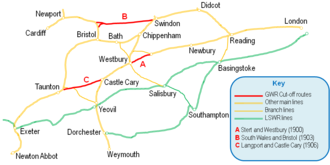 """Stert and Westbury Railway - GWR short cuts to the West Stet and Westbury marked """"A"""""""