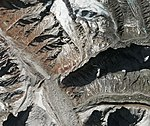 Gangotri Glacier terminus detail in 2018 satellite image, India ESA415382 (cropped).jpg