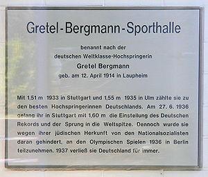 Gretel Bergmann - Plaque in the house Rudolstädter Strasse 77, Berlin-Wilmersdorf
