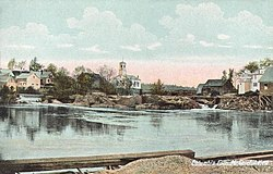 Town Hall and Pleasant River c. 1908