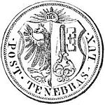"Obverse of coin. ""IHS"" surrounded by rays, above the coat of arms of Geneva."