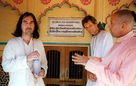 Harrison, with Hare Krishna devotees Shyamasundar Das and Mukunda Goswami, in Vrindavan, India, in 1996 George Harrison Vrindavan.jpg