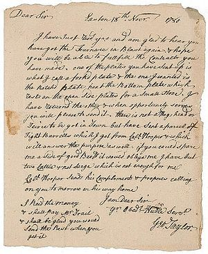 Thomas Lynch Jr. - The autograph letter signed by Lynch Jr. and Taylor is dated November 1780 and refers to business in Taylor's trade of ironmongery. This is one of the few signatures left of his name.