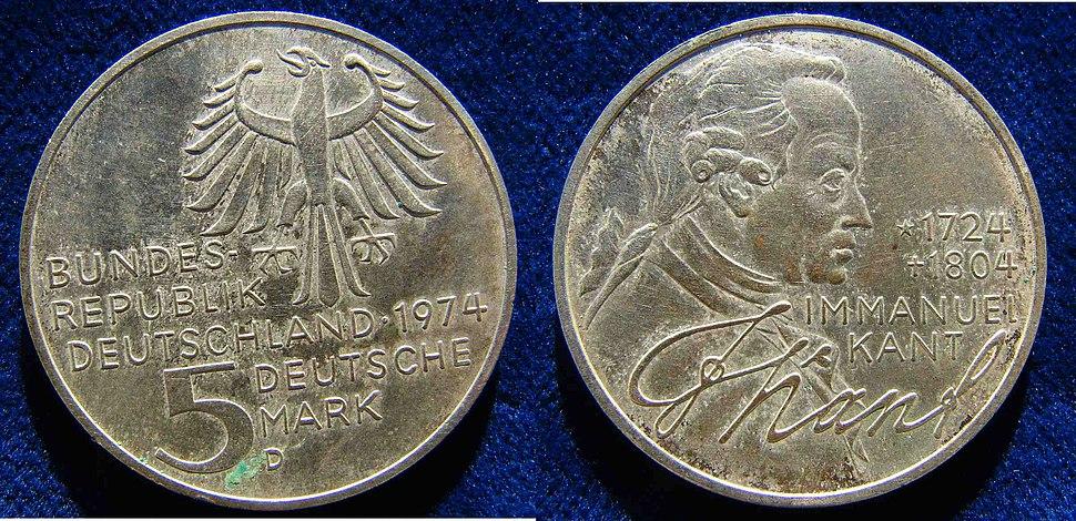 German 5 DM 1974 D Silver Coin Immanuel Kant