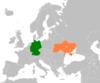 Lage von Deutschland und der Ukraine
