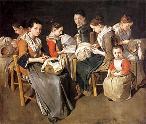 Sewing circle - Giacomo Ceruti, Women Working on Pillow Lace (1720s)