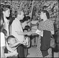 """Gila River Relocation Center, Rivers, Arizona. """"Goodbyes"""" are said as friends and neighbors again s . . . - NARA - 539843.jpg"""
