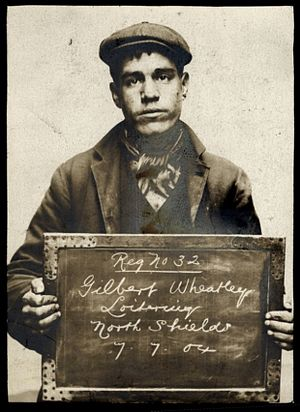 Loitering - Gilbert Wheatley, arrested  July 7, 1904 for loitering with intent to commit a felony.