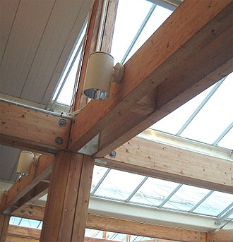 Glued laminated timber - Glulam frame of a roof structure