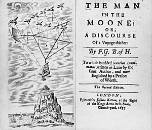"The Man in the Moone - Frontispiece and cover of the second edition (1657), now with the pseudonym replaced by ""F.G. B. of H."" (""Francis Godwin, Bishop of Hereford"")"